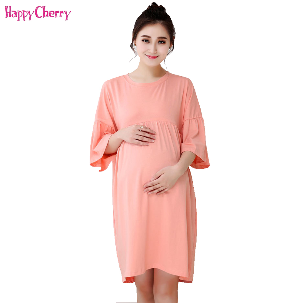 Happy Cherry Maternity Nursing Dress Short Breastfeeding Clothes for Pregnant Women Female Large Size Pregnancy Womens Clothing
