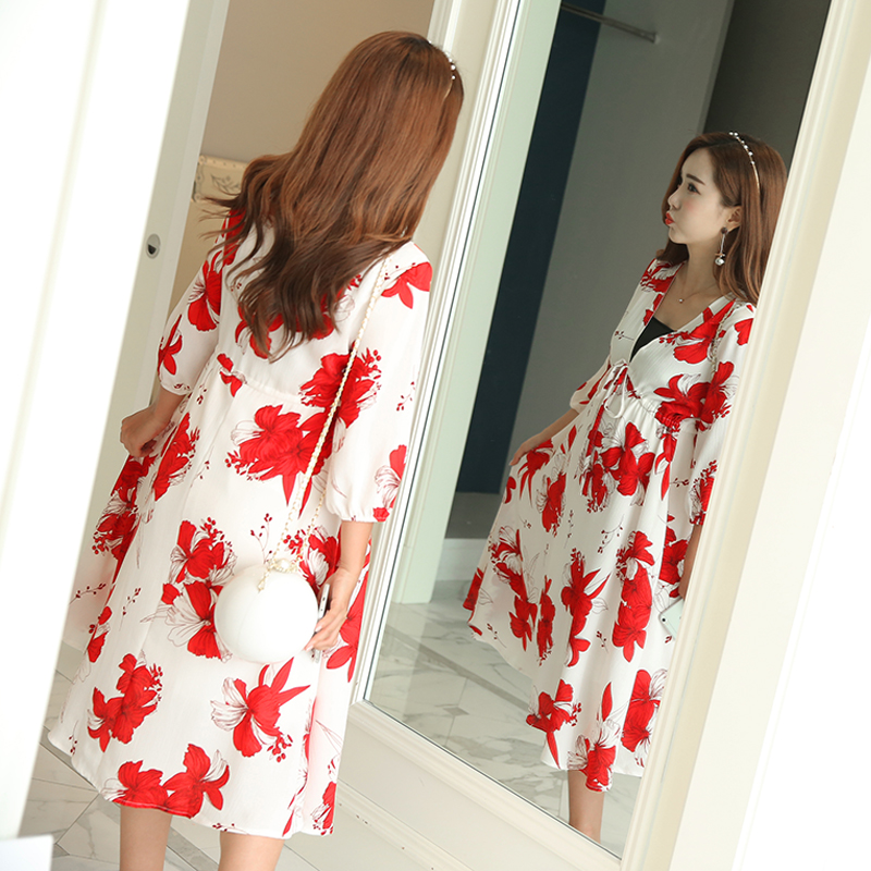 96a6ec4a584fa Pengpious pregnant women Korean style breastfeeding dress three quarter  sleeve postpartum women nursing dress floral beach dress-in Dresses from  Mother ...