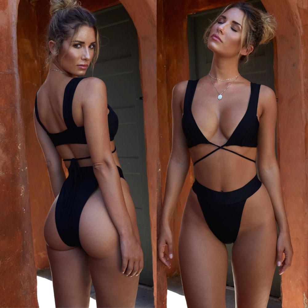 HTB1tDuLbifrK1RjSspbq6A4pFXah 2019 New Style Fashion Hot Solid Women Push-up Bandage Padded Bra Bandage Bikini Set Swimsuit Triangle Swimwear Bathing