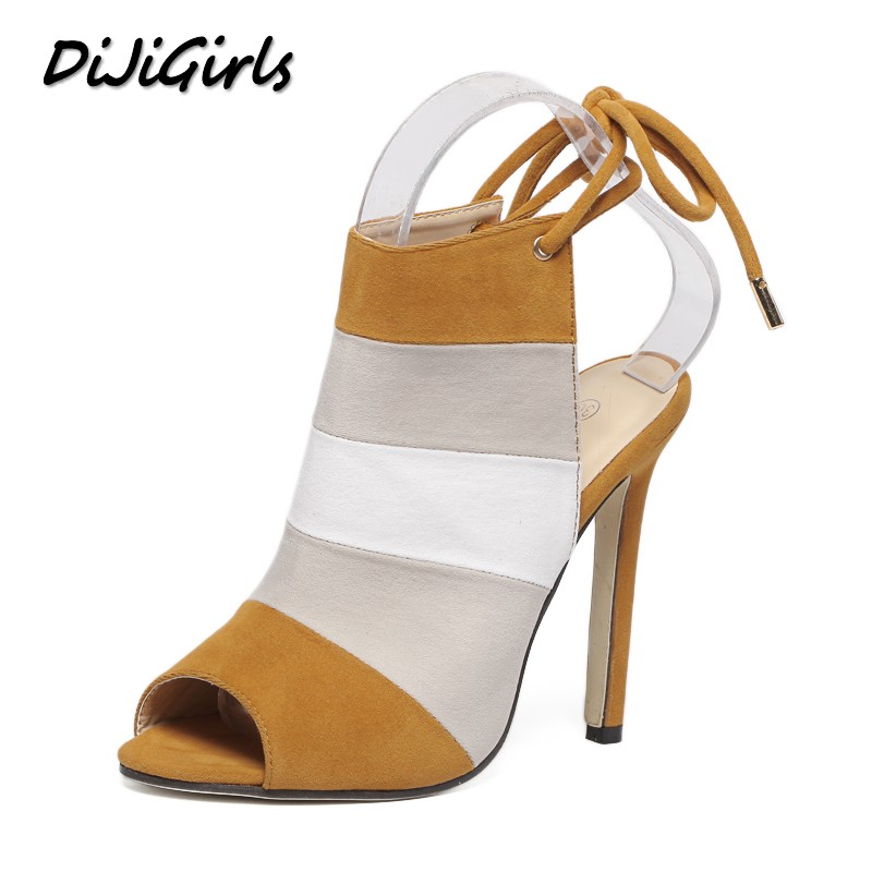DiJiGirls New summer women high heels sandals shoes woman pumps party wedding peep toe ankle strap stripe thin heels shoes new arrival black brown leather summer ankle strappy women sandals t strap high thin heels sexy party platfrom shoes woman