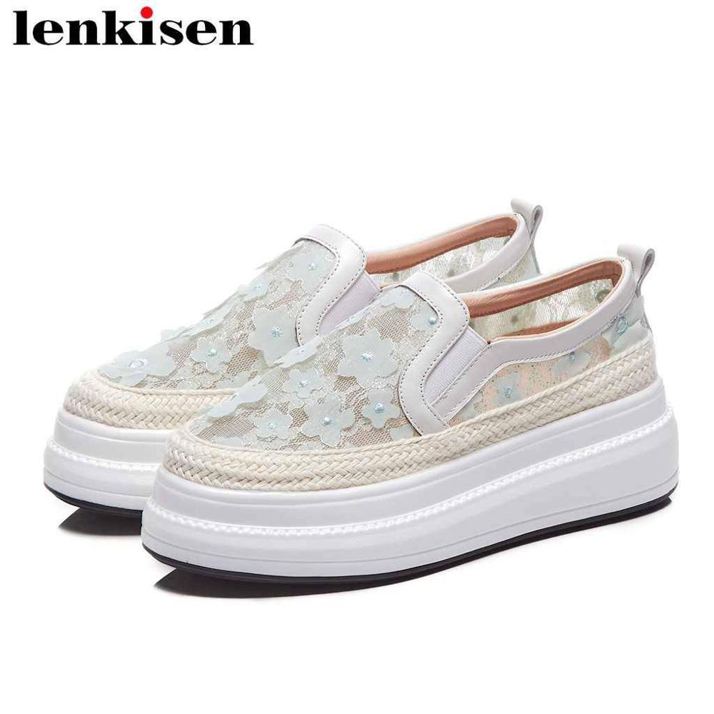 Lenkisen Breathable Mesh Flat Platform Round Toe Slip On Loafers Straw Decoration Med Bottom British Style Vulcanized Shoes L28