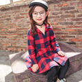 Girls dress 2017 spring children's new 4-5-6-7-8 year old plaid Long Sleeve shirt children's Casual Dresses with Sashes