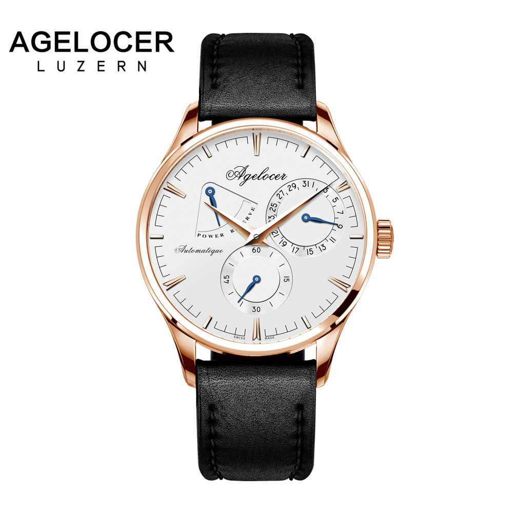 Agelocer Army Retro Watch Men Mechanical Power Reserve 42 Hours Gold 316L Steel Multi-function Watch Auto Date 5ATM Waterproof xerox 003r94588