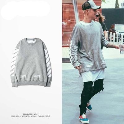 New White Virgil Abloh Hoodie Fashion 2016 Justin Bieber