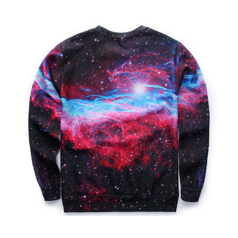 Harajuku Pullovers Dreamlike Starry Sky Printed Male Hoodies Tide Boys Novelty Tops O-neck Spring Sweatshirt Workout Warm Coat