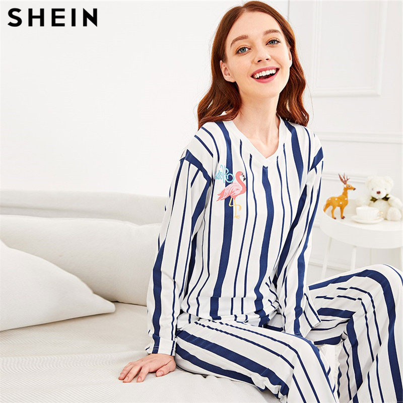 SHEIN Flamingo Print Striped   Pajama     Set   Women V-Neck Long Sleeve Spring Nightwear Tops With Long Pants Autumn Winter Pjs Women