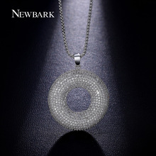 NEWBARK Classic Women Necklace Round Pendants Paved CZ Sweater Long Necklace Jewelry White Gold Plated Collares