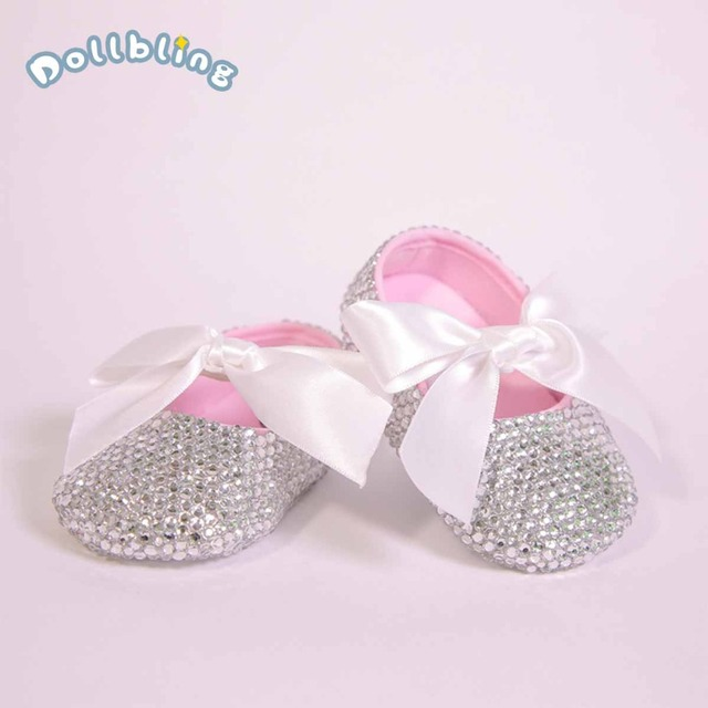 All Covered Clear Sparkle Bling out White Ribbon Bow Custom Handmade Christening 0-1 Princess Newborn Baby Girl Ballerina Shoes