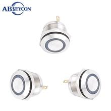 Metal Indicator Light Nickel Plated Brass 19mm Ring Illuminated LED Pilot Lamp 2V/3V/6V/12V/24V/36V/110V/220V