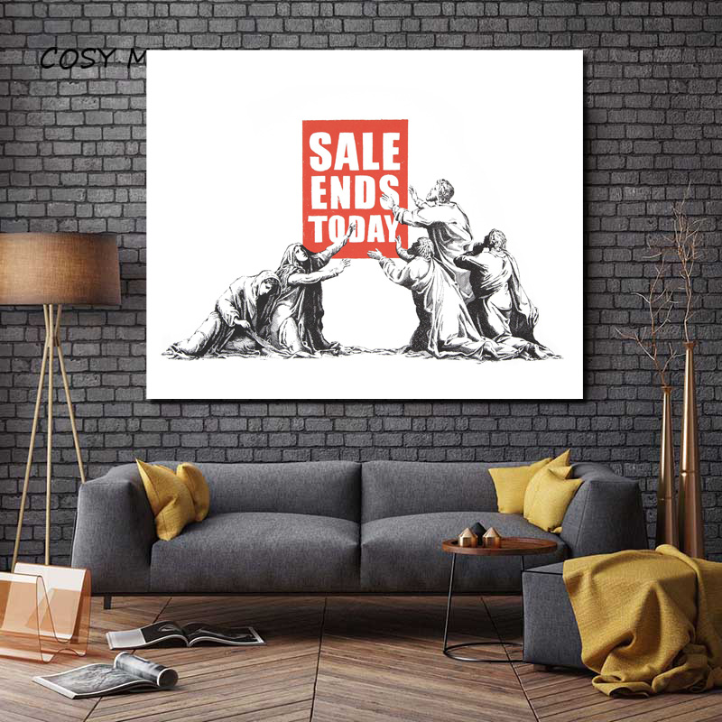 Banksy Sale Ends Today Canvas Painting Prints Living Room Home Decoration Artwork Modern Wall Art Oil Painting Posters Picture in Painting Calligraphy from Home Garden