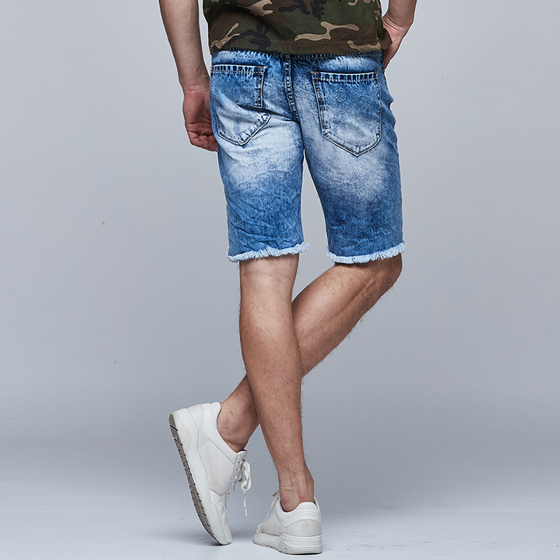 048832228a GLO STORY Men's Broken Bottom Holes Distressed Ripped Denim Shorts Men 2018  Casual Streetwear Summer Knee Length Jeans MNK 6265-in Jeans from Men's  Clothing ...