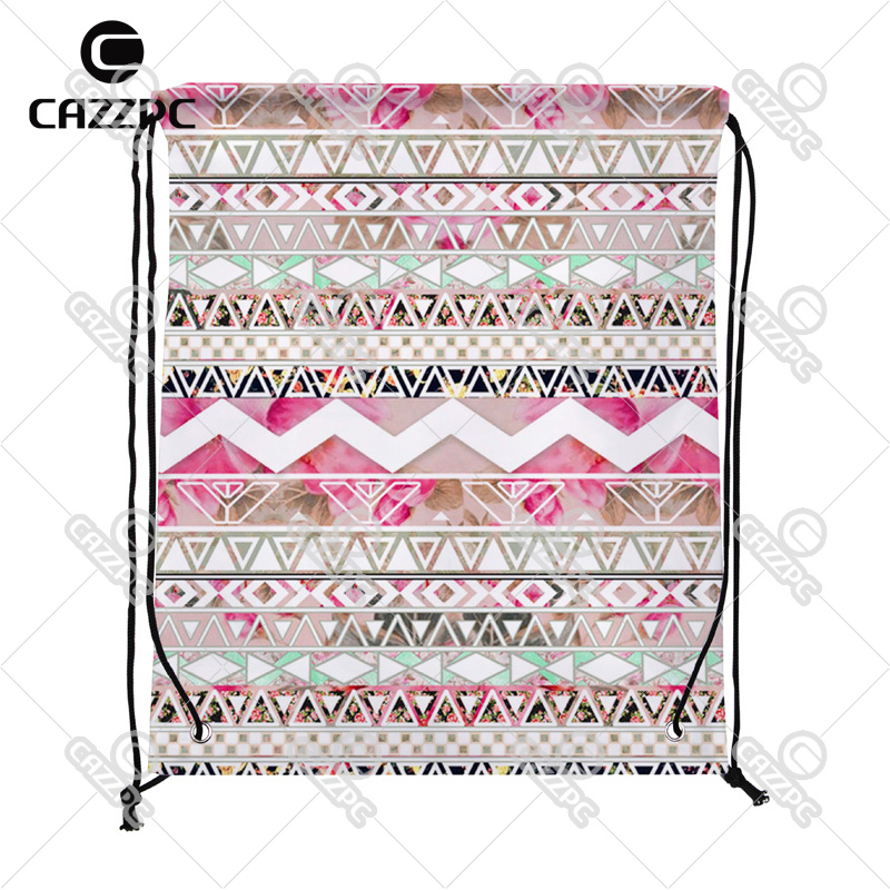Girly Pink White Floral Geometric Abstract Aztec Bohemia Individual Nylon Fabric Drawstring Shoes Storage Dust Bag Pack of 4