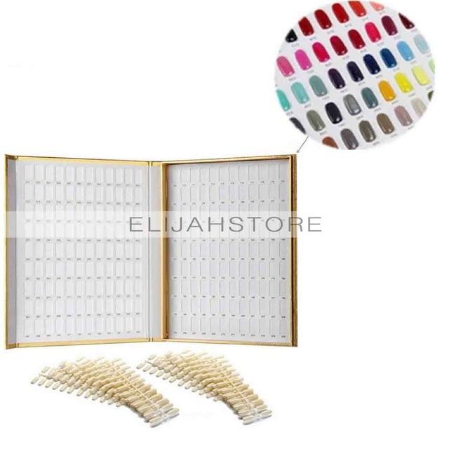 2017 New Professional Nail Display 120 Colors Golden Nail Gel Polish Display Chart with Tips Nail Art Salon Set