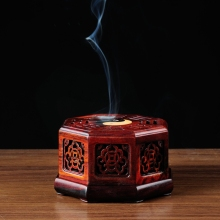 HOT chinese gifts and crafts handmade wood incense burner coil sandalwood sticks -coils free shipping