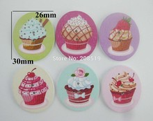 WBNVAN 2 Holes cake buttons scrapbook 120pcs mix styles randomly Cupcake Decoration wooden Button sewing accessories