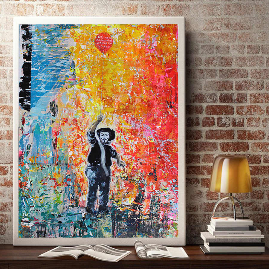 V for Vendetta Abstract Graffiti Poster Modern Street Art Banksy Balloon Girl Wall Picture Art Canvas Painting for Living Room