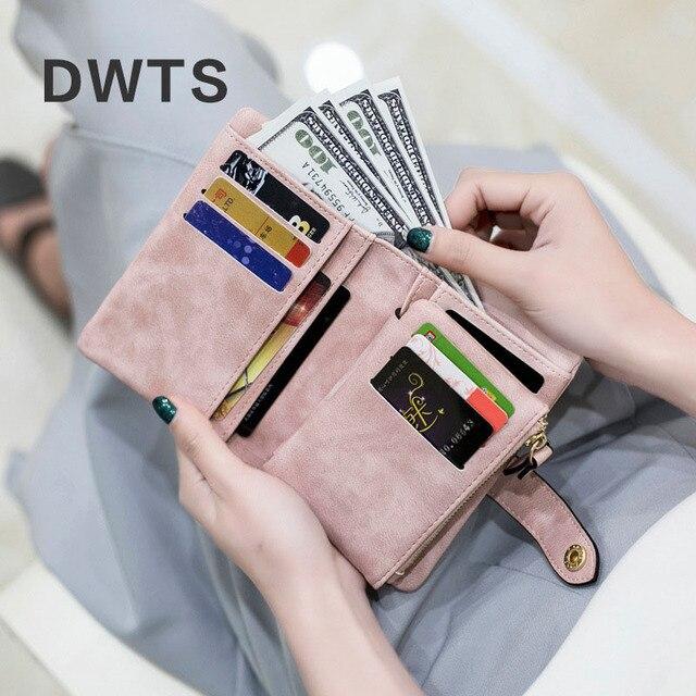 Wallet Female Leather Wallet Matte Wallet Short Cartera Mujer Cute Tri-fold Multi-card Female Wallet 1