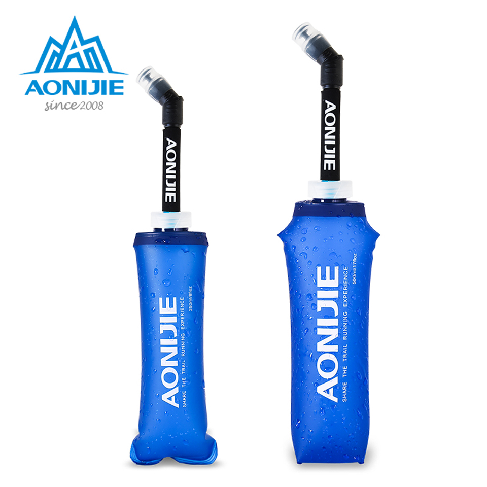 AONIJIE 250/500ML Outdoor Camping Hiking Running Soft Flask Sports Cycling Running Water Hydration Bottle