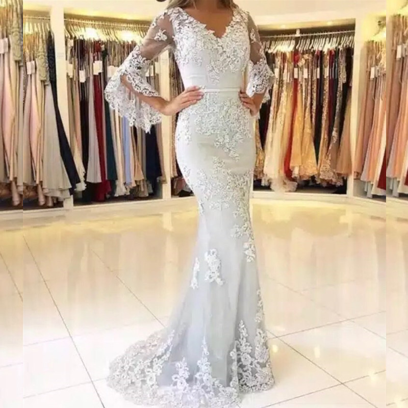 AE1211 Glamorous Long Sleeves Mermaid Evening Dresses Lace Appliques Prom Party Dresses Formal Dresses vestidos de festa longo