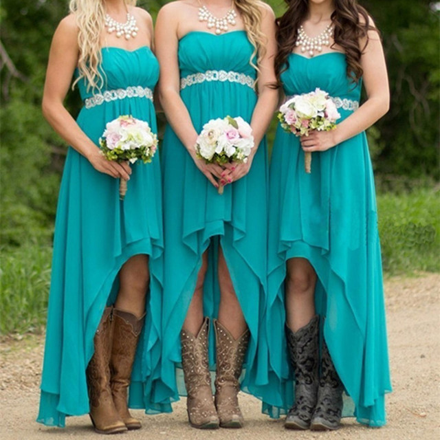 Turquoise Navy Blue C Bridesmaid Dress Customized Liques Chiffon 2017 Long Sleeveless Vestido Wedding Guest Gown
