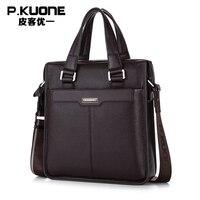 New P Kuone Brand Men Bag Handbag Genuine Leather Shoulder Bag Cowhide Leather Men Briefcase Business