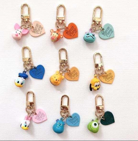 New Cartoon Donald Duck Daisy Heart Color Jingle Bells Cute Keychain Jewelry Accessories Key Chains Pendant Gifts Favors D-01