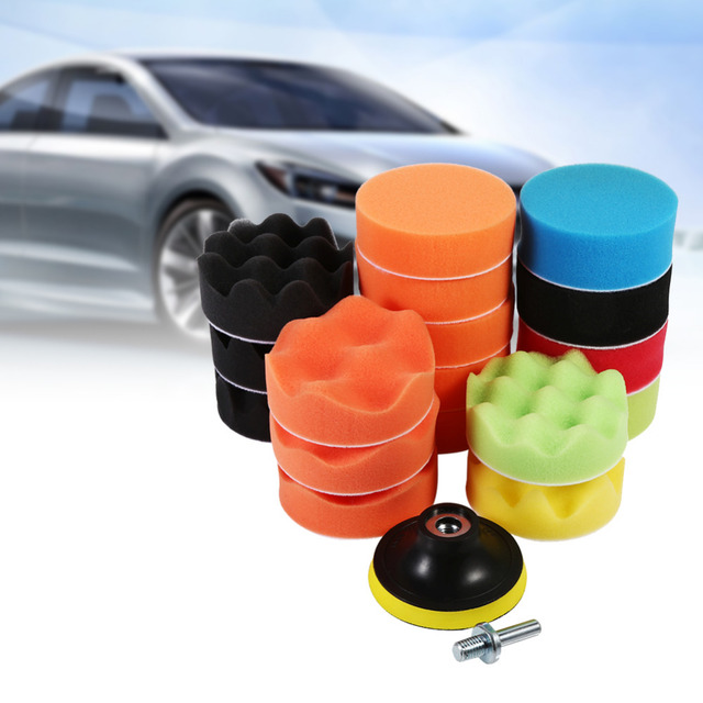 19 Pcs 3″ Sponge Buff Polishing Pad Set For Car Polisher & Waxing(M10 Drill Adapter)