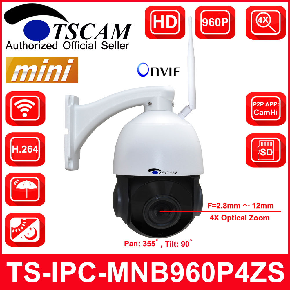 TSCAM new HD 1.3MP Wireless Security IP Camera Onvif P2P Zoom Lens IR camera Software Speed dome 4 inch Mini Size outdoor indoor 4pcs lot 960p indoor night version ir dome camera 4 in1 camera 3 6mm lens p2p onvif abs plastic housing