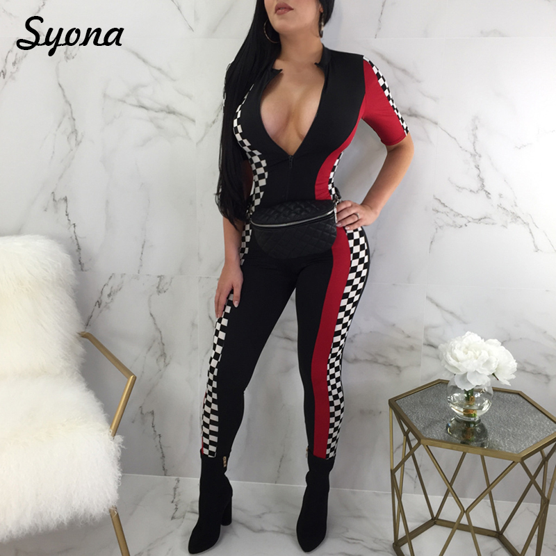 Casual Slim Plaid JUMPSUIT WOMENS ROMPERS Front Zipper Side Striped Checkered Pants Short Sleeve Active Tracksuits Black Overall