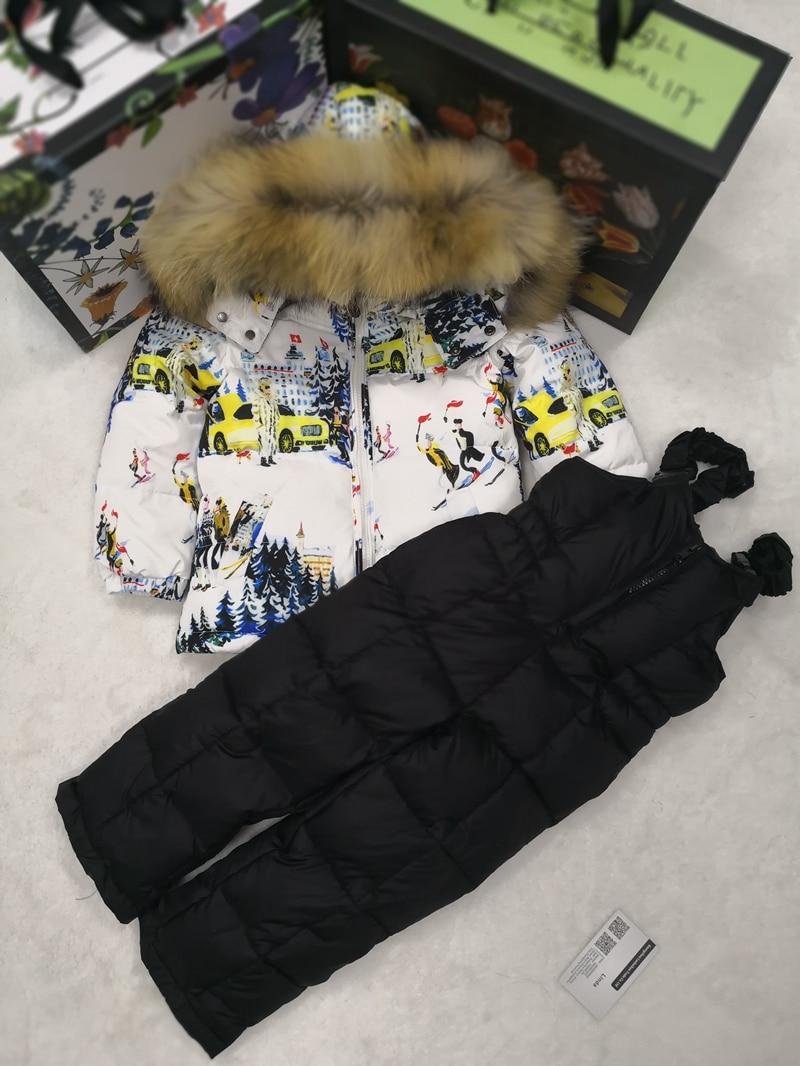 80cm 140cm 2018 Winter Jacket Children down jackets PANT duck down Fur hooded girl snowsuit boy