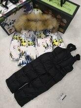 80 см-140 см, зимняя куртка 2018 года, детские пуховики и штаны на утином пуху, с меховым капюшоном, комплект для мальчиков, верхняя одежда, лыжный костюм