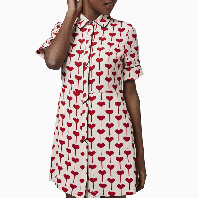 8f52ea2ddf4 Women sweet red Heart pattern dress new stylish Summer Straight dress  Vestidos femininos short sleeve lapel buttons dress