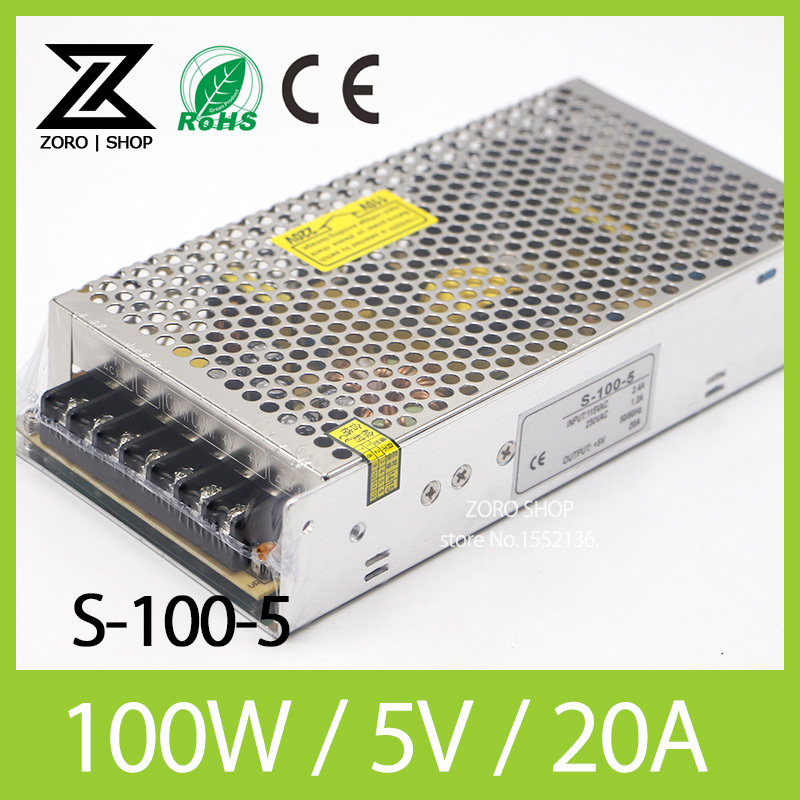 100W 5V 20A LED Light Devices Switching Power Supply AC-DC PSU 100/110/220/230V S-100-5