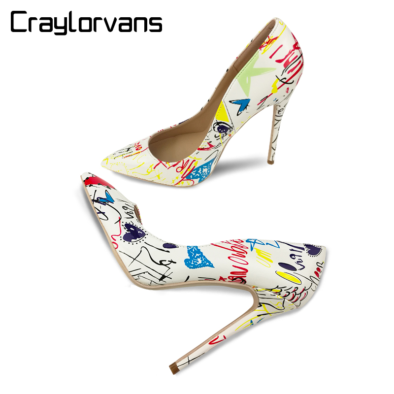 Craylorvans 2018 NEW Fashion Brand Style Women Shoes White Graffiti Colorful High Heels Sexy Spring Pointed Toe Women Pumps marsnaska brand new white