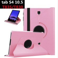 360 Degree Rotating Flip Stand Leather Cover  for For Samsung Galaxy Tab S4 10.5 T830 T835 Funda Smart Protective Case for T830 epgate 360 degree rotation protective case cover stand for samsung galaxy tab 4 t530 pink
