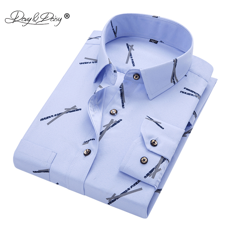 Davydaisy New Arrival Men's Shirt Men Floral Printing Shirt Solid Long Sleeve Fashion Casual Shirts Brand 16 Colors Ds219