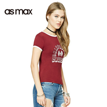 asmax 2017 Solid 2 Colors Women T-shirts Letter Print Crew Neck Brief Casual Tops Summer Short Sleeve Streetwear Slim T-shirts