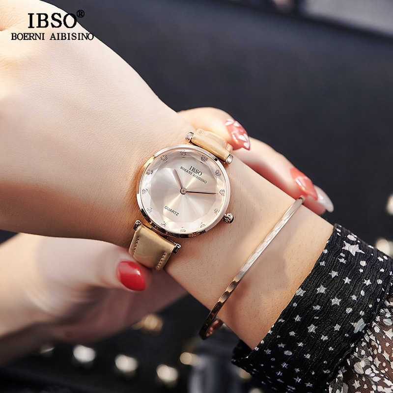 IBSO Brand Fashion Women Wrist Watches Leather Strap Relogio Feminino Luxury Ladies Quartz Watch Women Montre Femme 2018 Clock ruimas fashion leather quartz watch top brand luxury women watches ladies clock relogio feminino montre femme lover wristwatches