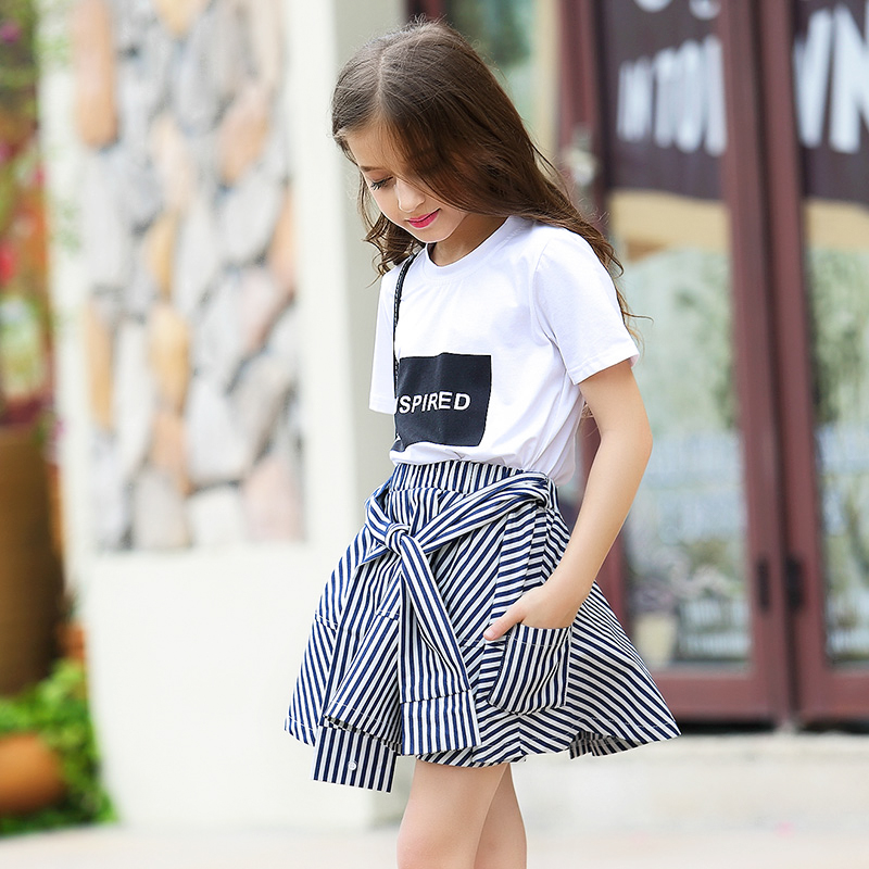 Girls Shorts Skirts Sets Summer Girls Clothes 2 pieces Cotton T shirt + Striped Pant Skirt Size 6 8 10 12 14 15 years Одежда