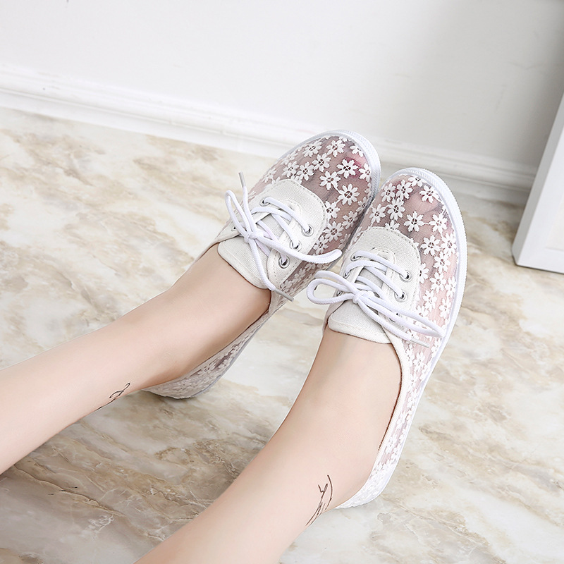 2018 summer new shallow breathable sexy lace flat shoes women's fashion tenis feminino zapatillas mujer canvas mesh