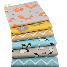 Chainho,6pcs/lot New Fox&Penguin Series Twill Cotton Fabric,Patchwork Cloth,DIY Baby&Child Sewing Quilting Fat Quarters Material(China)