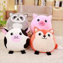 цены на Cute Round Fat Pig Foxes Plush Toys Stuffed Animal Cattle Raccoon Doll Toy Soft Plush Pillow Children Toys Gift  в интернет-магазинах