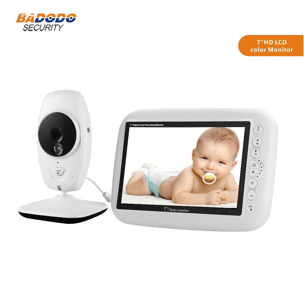 7 0 inch 720P HD LCD wireless baby monitor support IR Night vision Temperature detection two