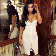 Front Zipper Summer Dress Split Celebrity Party Women Bodycon Bandage Dresses Night Out Dress