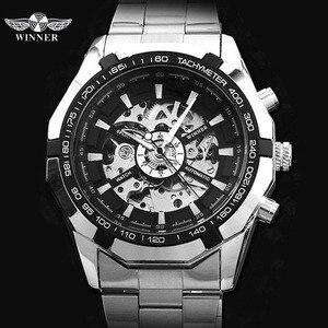 Image 2 - الفائز ساعات أوتوماتيكية وصفت الرجال الكلاسيكية الفولاذ المقاوم للصدأ الذاتي الرياح الهيكل العظمي الميكانيكية ساعة الموضة عبر ساعة اليد