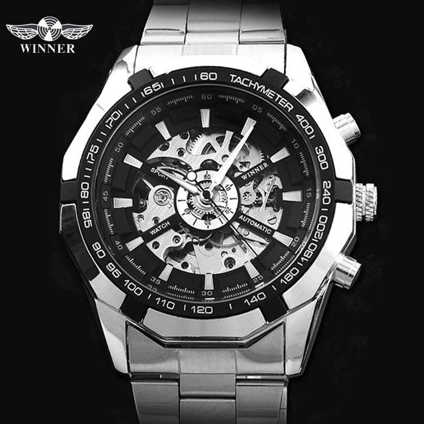 WINNER automatic Watches Branded Mens Classic Stainless Steel Self Wind Skeleton Mechanical Watch Fashion Cross Wristwatch mce automatic watches luxury brand mens stainless steel self wind skeleton mechanical watch fashion casual wrist watches for men