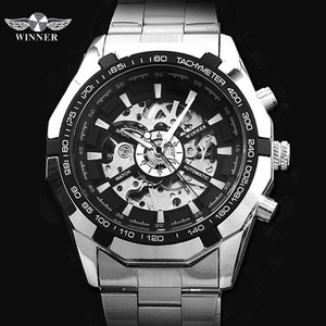 Image 2 - WINNER automatic Watches Branded Mens Classic Stainless Steel Self Wind Skeleton Mechanical Watch Fashion Cross Wristwatch