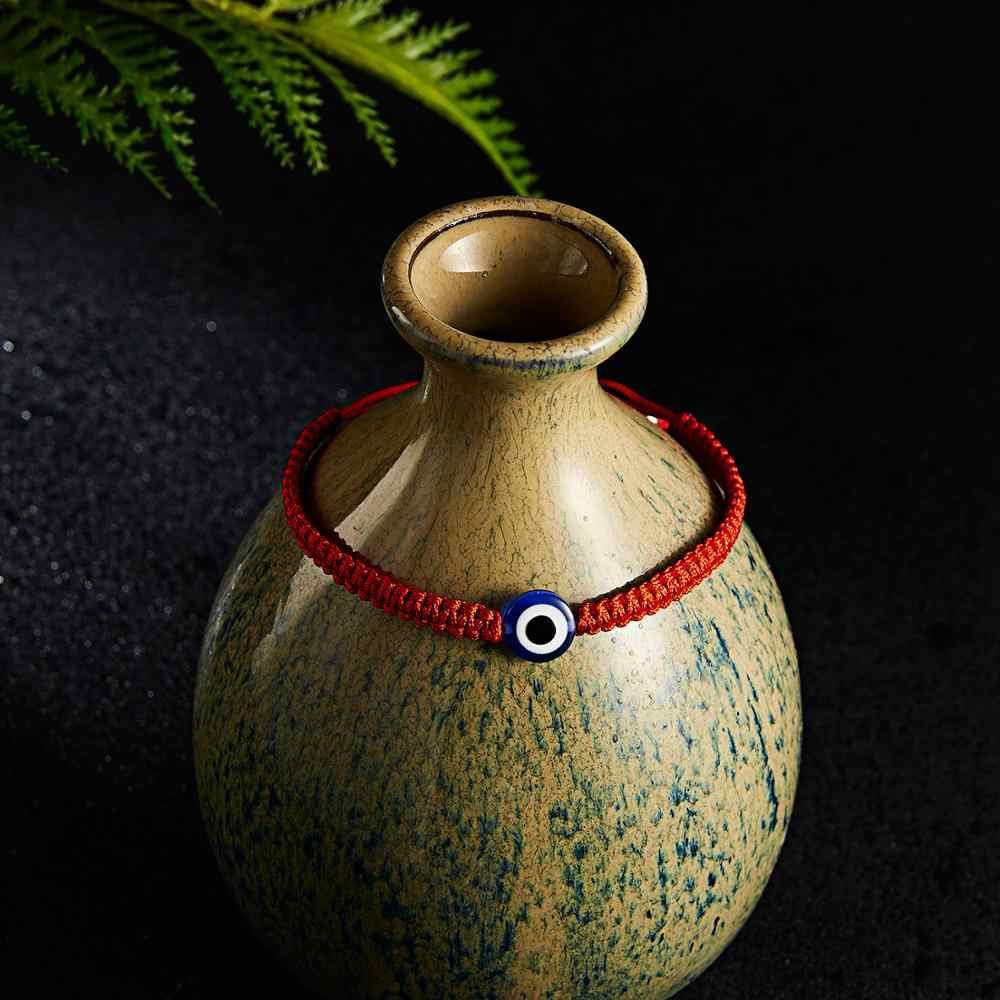Rinhoo チャームトルコ邪眼ハンド編組赤糸文字列のブレスレット女性男性ラッキー赤ロープ調節可能なブレスレットの宝石類のギフト