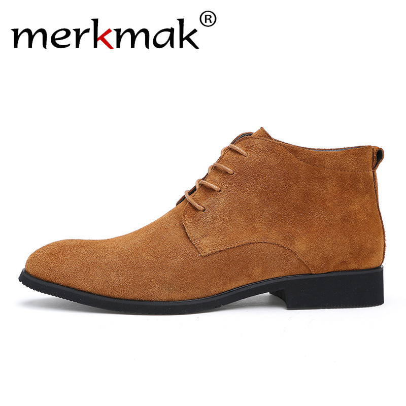 Merkmak Boots Dress-Shoes Formal Winter Male Casual Solid Warm Man Plush Outdoor Ankle