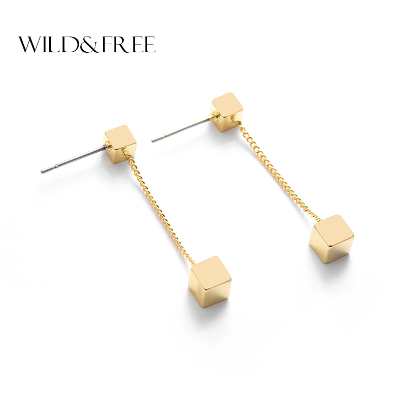 Hot Sale Gold Color Square Long Pendant Stud Earrings for Women Fashion Simple High Quality Small Tassel Earrings Girls Female